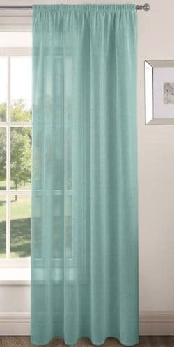 PLAIN DUCK EGG COLOUR SLOT TOP READY MADE STYLISH LIGHT NET VOILE CURTAIN