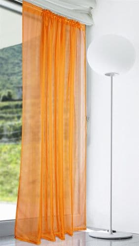 PLAIN ORANGE COLOUR SLOT TOP READY MADE STYLISH LIGHT NET VOILE CURTAIN