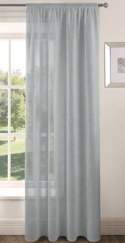 PLAIN SILVER COLOUR SLOT TOP READY MADE STYLISH LIGHT NET VOILE CURTAIN