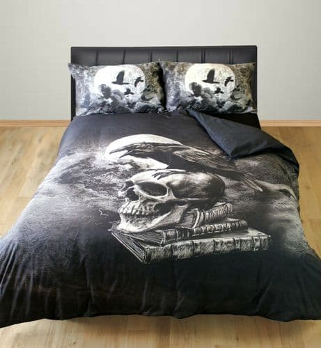 POE'S RAVEN ALCHEMY GOTHIC CROW BIRDS SKULL MOON GREY BLACK DUVET COVER SET