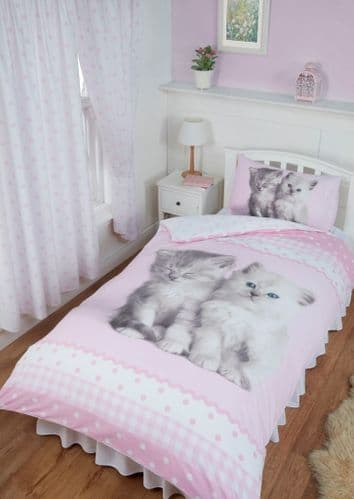 Rachael Hale Misty & Mac Pink Cute Cats Kittens Paws Polka Duvet Quilt Cover Set