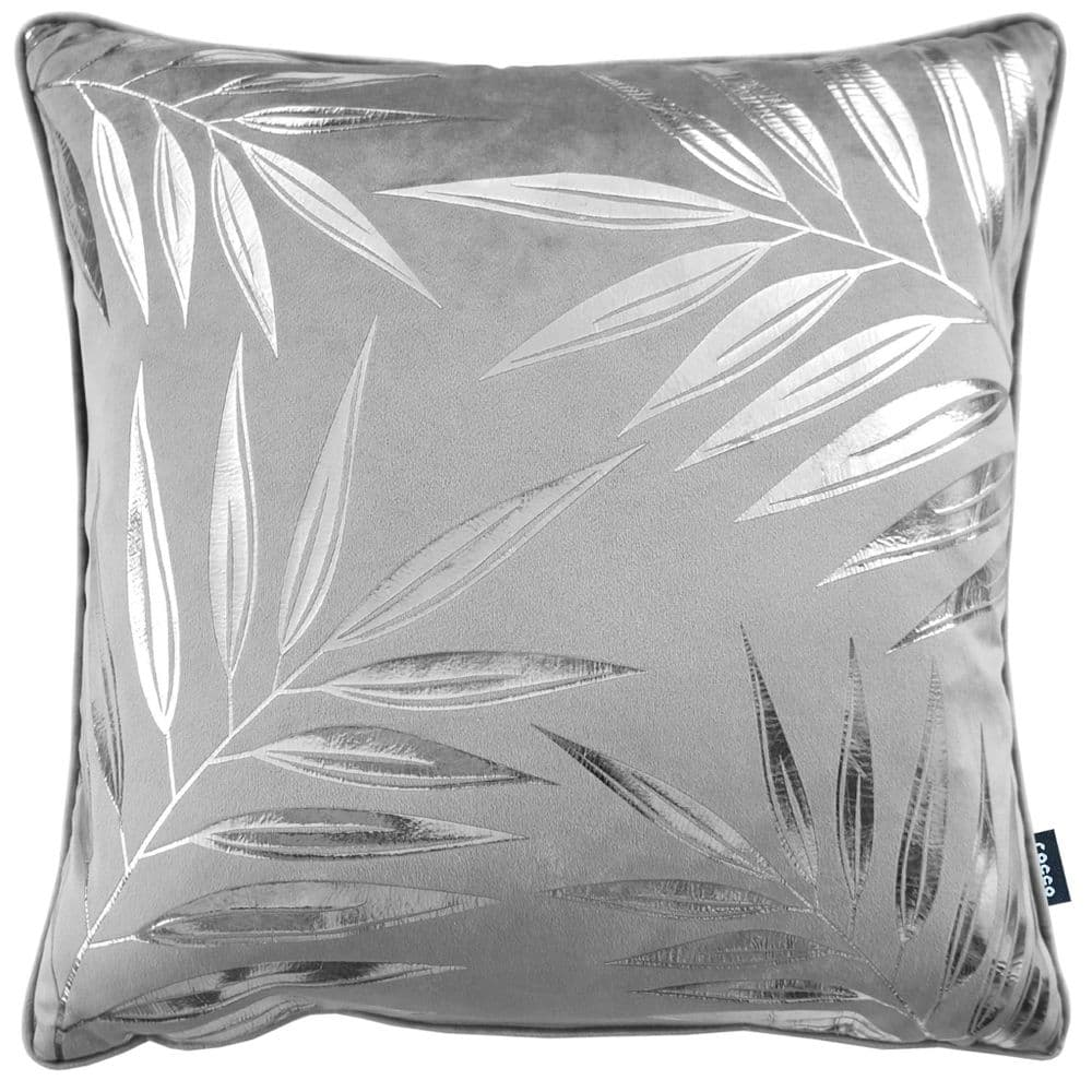 Rocco Designer Velvet Metallic Leaf Filled Cushion Grey Silver 43cm x 43cm