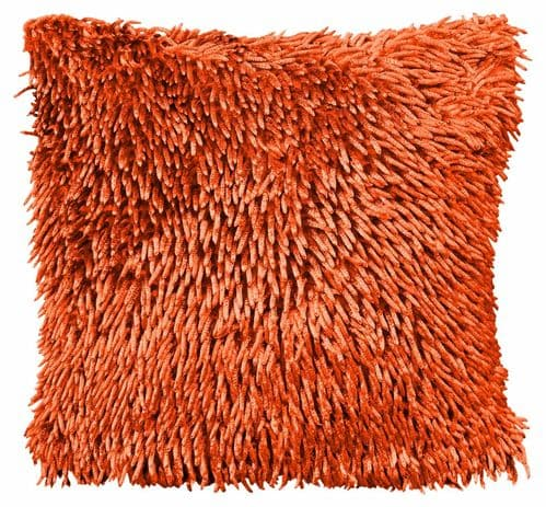 SHAGGY CHENILLE LOOP PILE STYLISH DESIGNER FILLED CUSHION ORANGE 43X43CM
