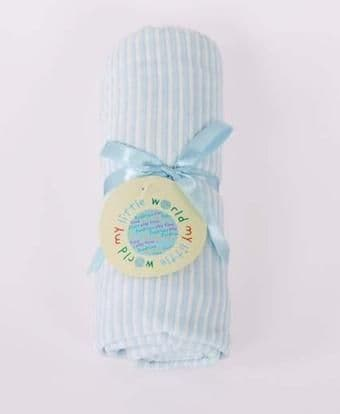 SOFT STRIPED VELOUR BABY PRAM BLANKET BLUE COLOUR