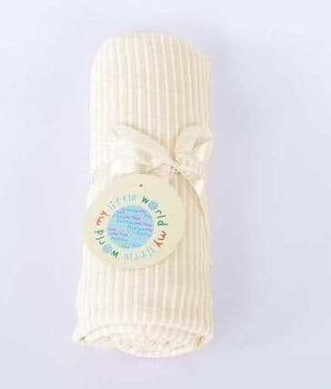 SOFT STRIPED VELOUR BABY PRAM BLANKET CREAM COLOUR