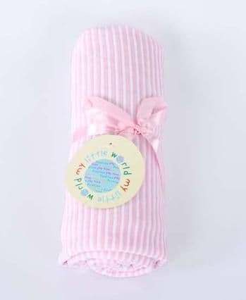 SOFT STRIPED VELOUR BABY PRAM BLANKET PINK COLOUR