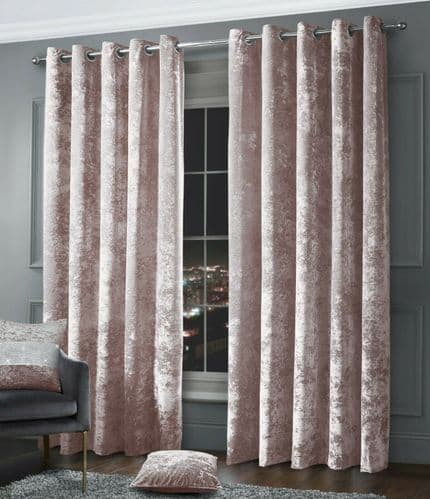 Stylish Crushed Velvet Modern Textured Ringtop Eyelet Pair Of Curtains Blush Pink Colour