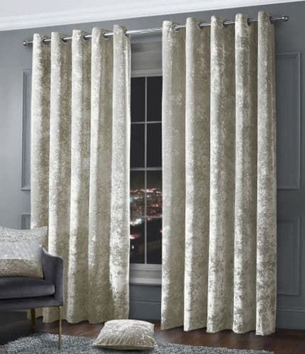 Stylish Crushed Velvet Modern Textured Ringtop Eyelet Pair Of Curtains Natural Colour
