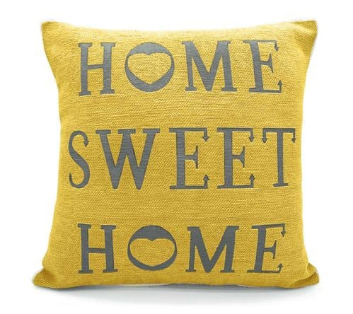 Stylish Shabby Chic Chenille Design Home Sweet Home Filled Cushion Ochre Yellow Colour