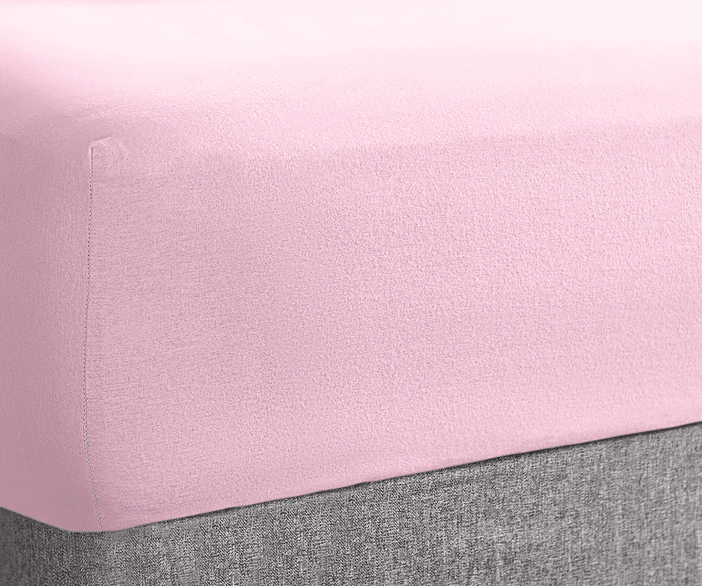 "Super Soft Stretch Terry Towel 10"" Deep Fitted Sheet, All Sizes, Pink Colour"