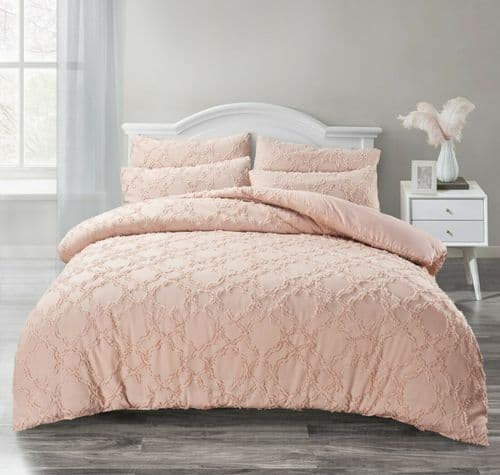 Tufted Ruched Luxury Ruffled Bedding Set Duvet Cover and Pillowcases Blush Pink
