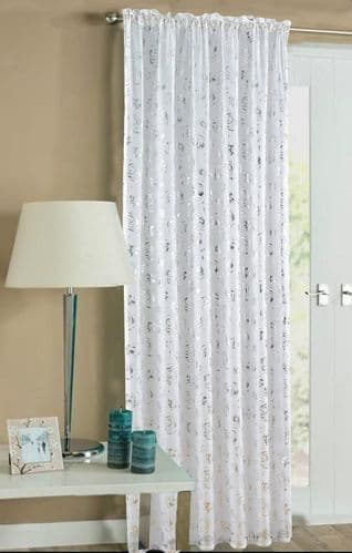 WHITE COLOUR SLOT TOP READY MADE STYLISH FLORAL DESIGN LIGHT NET VOILE PANEL