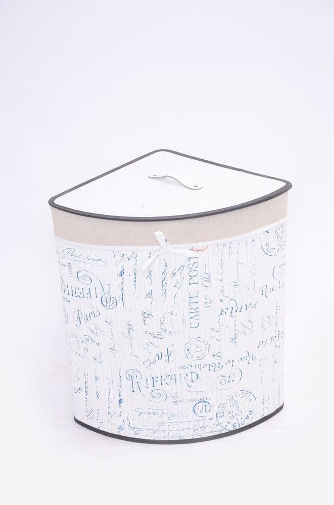 WHITE FLEUR DE PARIS BAMBOO LAUNDRY BASKET WASHING CLOTHES FOLDABLE STORAGE BIN - CORNER