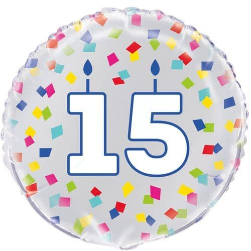 15th Confetti Cheer Design Foil Helium Balloon