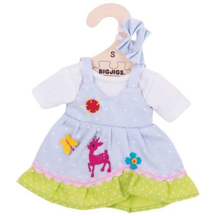 BigJigs - Blue Spotted Dress with Deer (for 28cm Doll)