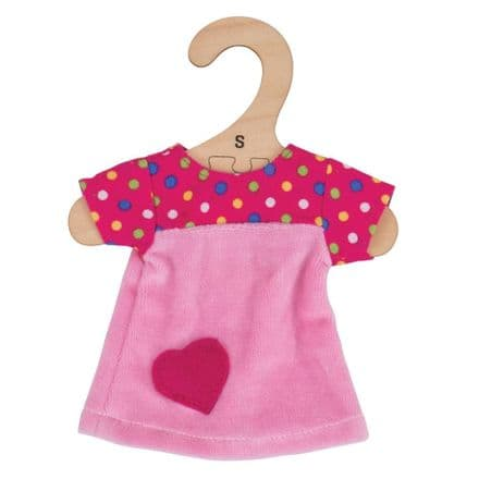 BigJigs - Pink Dress with Spots (for 28cm Doll)