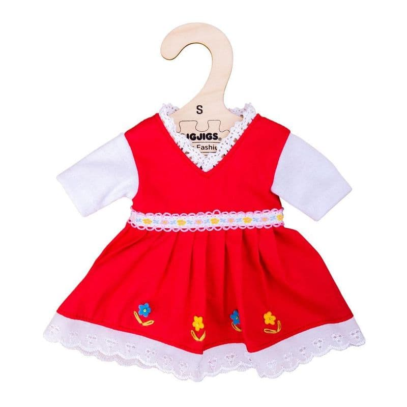 BigJigs - Red Dress with Floral Trim Dress (for 28cm Doll)