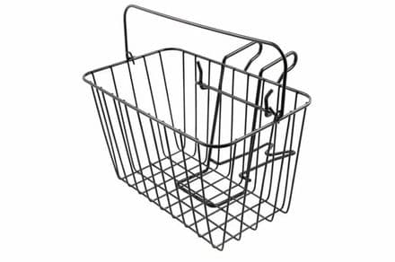 "Front Steel Wire Mesh Bike Shopping Town Basket & Handle Black 14"" Wide"
