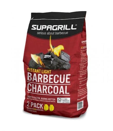 Supagrill Instant Light Lumpwood Charcoal - 2 x 850g