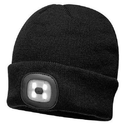 Unisex LED Battery Powered Headlight Beanie Knitted Hat Black 3 Brightness set