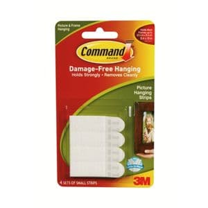 Command™ Picture & Mirror Hanging Strips Small, 450g (Pack of 4 Sets)