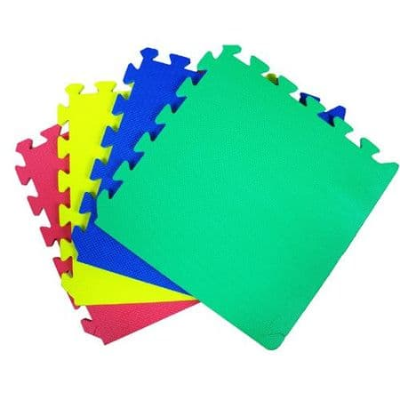 30 x 30 CM MULTICOLOUR INTERLOCKING EVA SOFT FOAM EXERCISE FLOOR MATS GYM GARAGE OFFICE KIDS PLAY