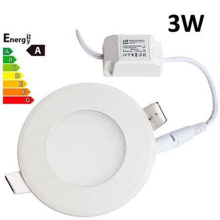 JSG Accessories® LED Round Recessed Ceiling Panel down Light Ultra-slim Lamp Ultra-Thin 3W