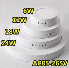 Surface Mounted LED Panel Light Circular Round Ceiling Downlight Lamp 12V Boat Car Truck RV Emergency