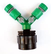 """IBC Adapter (HD) to TWIN 1/2"""" (13mm) SNAP-ON Garden Hose Fittings. C/w ON/OFF Taps and 2 x Female Hose Connectors"""