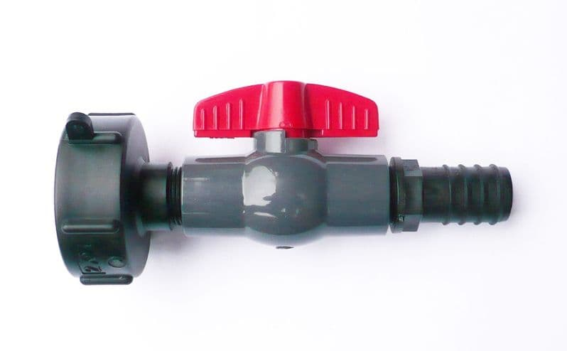 IBC ADAPTER (S60X6 coarse thread) with PVC Ball Valve & Barbed Hosetail