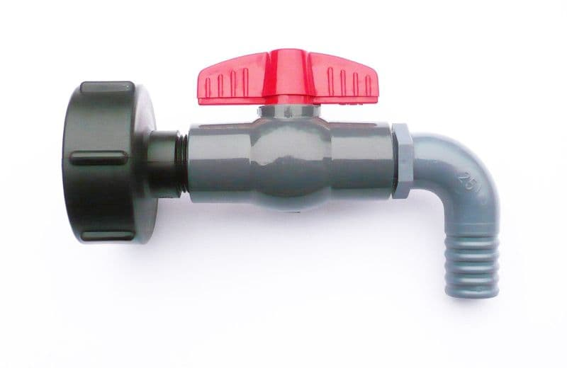 IBC ADAPTER (S60X6 coarse thread) with PVC Ball Valve & Barbed Hosetail Spout