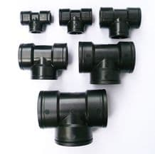 PP TEE Pieces. 3 x Female BSP Fine Thread. Irrigation Ponds IBC Pipe Joints