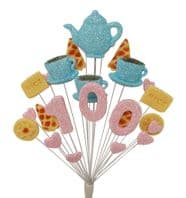 Afternoon tea 100th birthday cake topper decoration in pale blue and pale pink - free postage