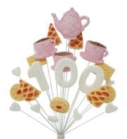Afternoon tea 100th birthday cake topper decoration in pale pink and white - free postage
