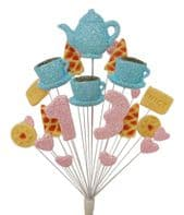 Afternoon tea 13th birthday cake topper decoration in pale blue and pale pink - free postage