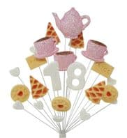 Afternoon tea 18th birthday cake topper decoration pink & white - free postage