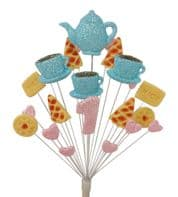 Afternoon tea 1st birthday cake topper decoration in pale blue and pale pink - free postage