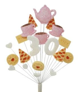 Afternoon tea 30th birthday cake topper decoration in pale pink and white - free postage