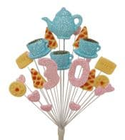 Afternoon tea 30th birthday cake topper decoration in pink and blue - free postage