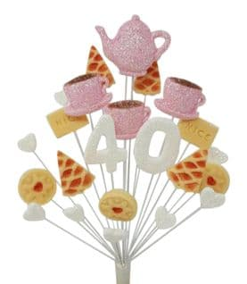 Afternoon tea 40th birthday cake topper decoration in pale pink and white - free postage