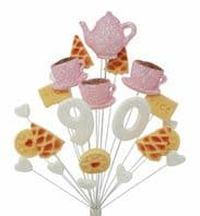 Afternoon tea 90th birthday cake topper decoration in pale pink and white - free postage