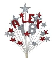 Alpha age 18th birthday cake topper decoration in red and silver - free postage