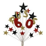 Alpha age 60th birthday cake topper decoration in gold, red and black - choose name - free postage