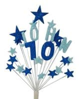 Alpha age 70th birthday cake topper decoration in shades of blue - free postage