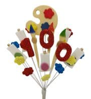 Artist 100th birthday cake topper decoration - colours as shown - free postage