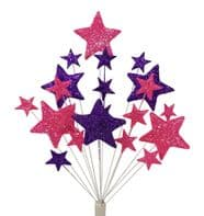 Bright Star Christmas cake decoration topper in bright pink and purple - free postage