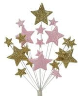 Bright star Christmas cake topper decoration in gold and pale pink - free postage