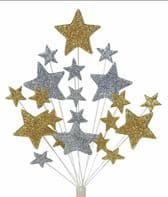 Bright star Christmas cake topper decoration in gold and silver -  free postage