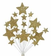 Bright star Christmas cake topper decoration in gold - free postage