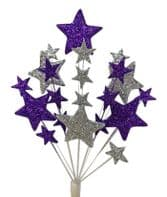 Bright star Christmas cake topper decoration in purple and silver - free postage